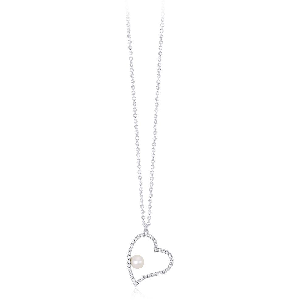 Collana Mabina donna con pendente cuore con perla 553260