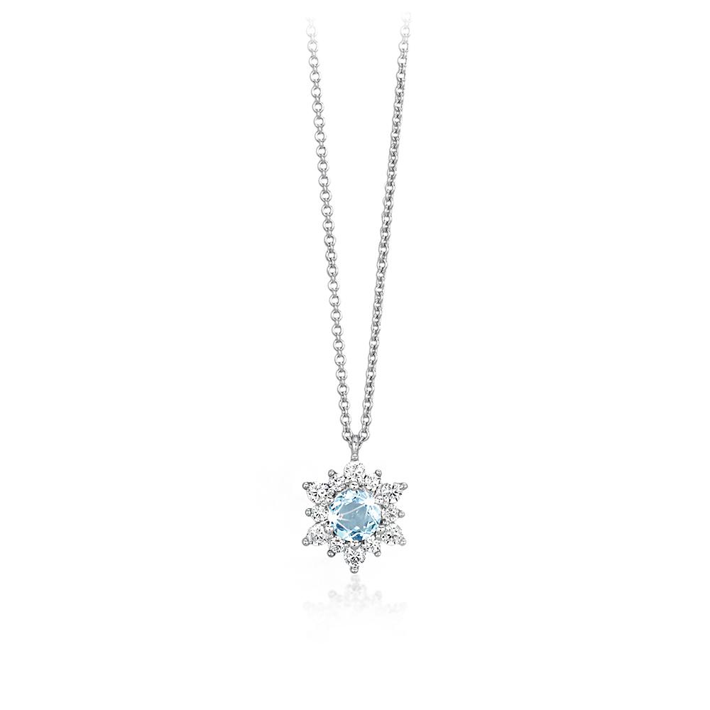collana Mabina in argento con pietra color acquamarina