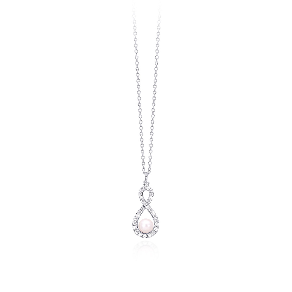 Collana Mabina in argento con zirconi e perla  553207
