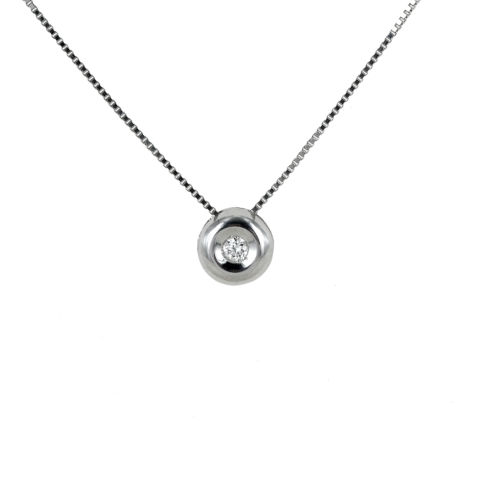 Collana Punto Luce Cipollina piccola con diamante ct 0.02 G VS