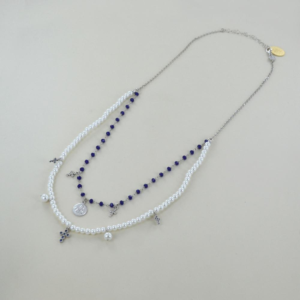 Collana religiosa Agios gioielli con perle Angelo Cherubino e cristalli blu