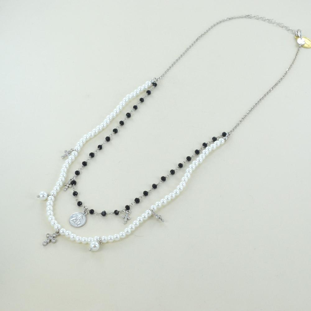 Collana religiosa Agios gioielli con perle Angelo Cherubino e cristalli neri