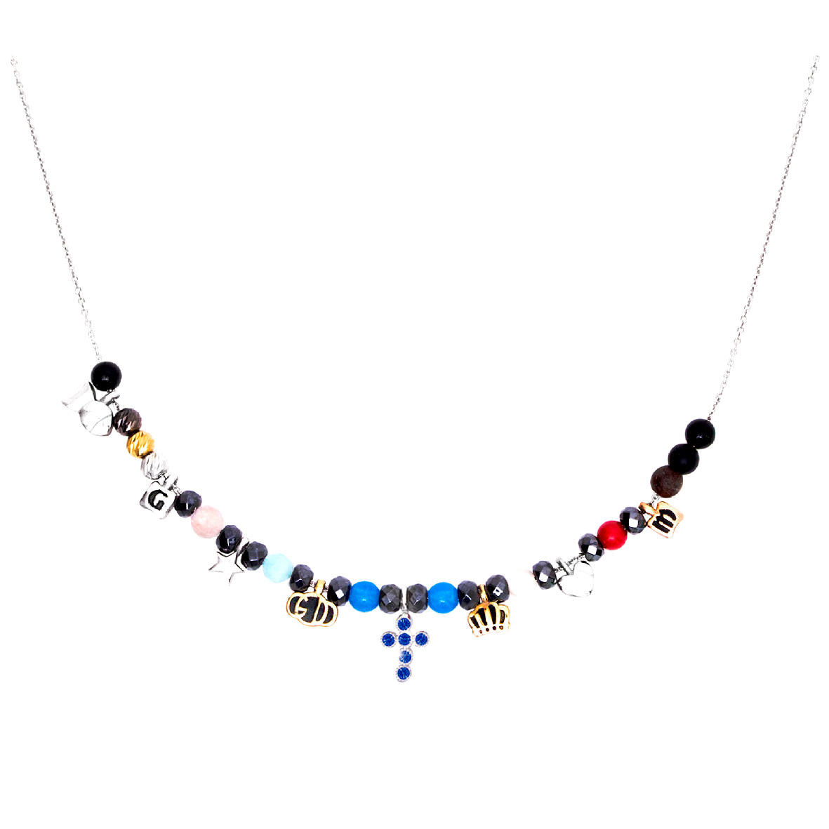 Collana religiosa Agios gioielli Iesus in argento e pietre naturali con croce blu