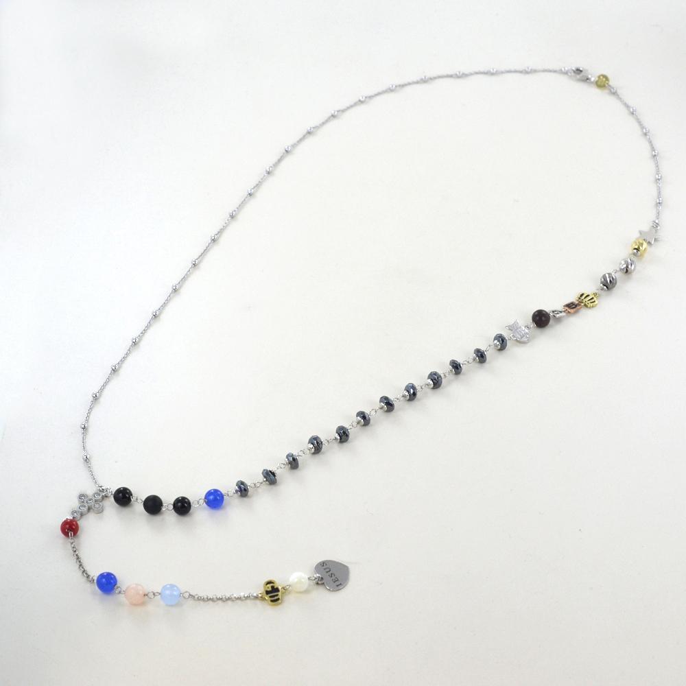 Collana Rosario Agios gioielli Iesus in argento e pietre naturali con croce