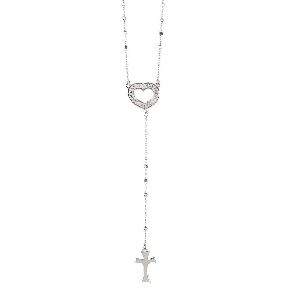 Collana rosario con frase papa Francesco in argento e cuore Agios