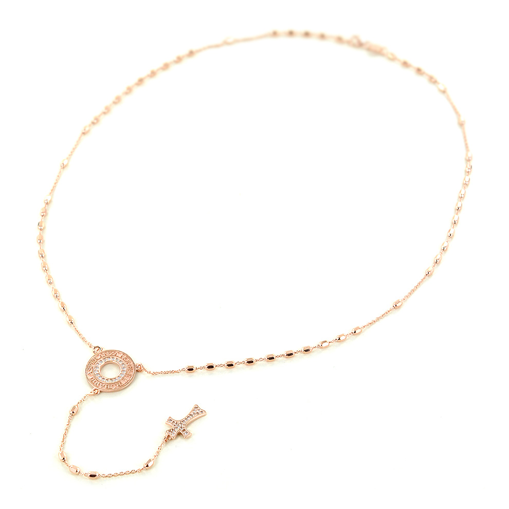 Collana rosario con frase papa Francesco in argento e zirconi Agios