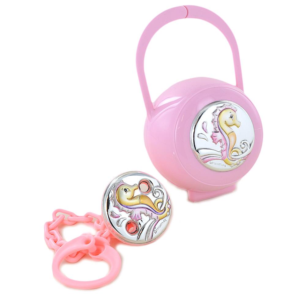 Confezione regalo scatolina e pinza porta ciuccio da bambina argento ippocampo
