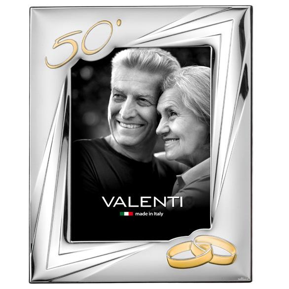 Cornice 50 esimo anniversario di matrimonio in argento con fedi dorate