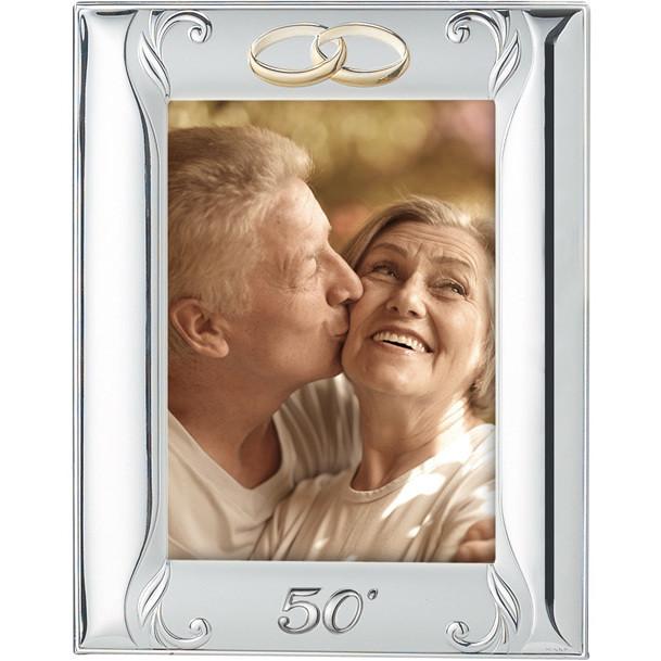 Cornice 50° anniversario di matrimonio in argento con fedi dorate 13 x 18 cm