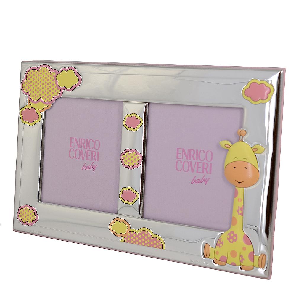 Cornice doppia da bambina con Giraffina cornice per due foto