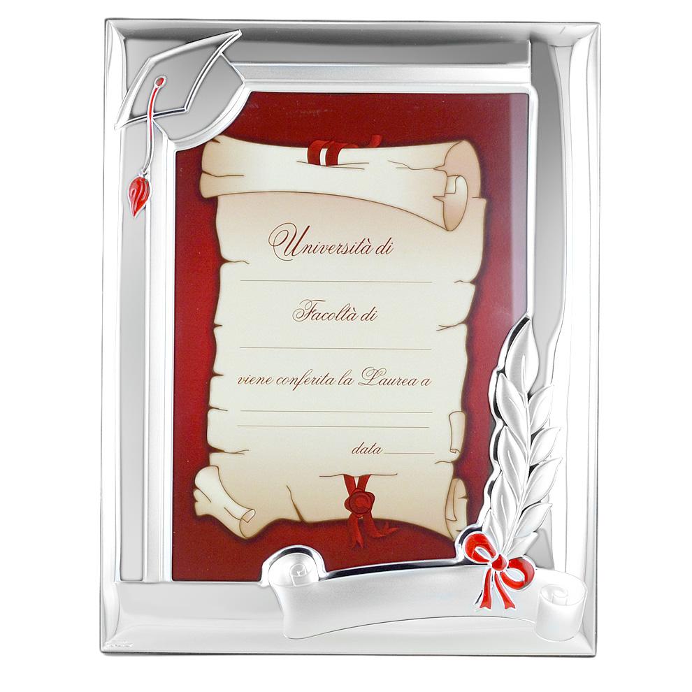 Cornice in Argento LAUREA 13X18 cm - argento e smalto rosso