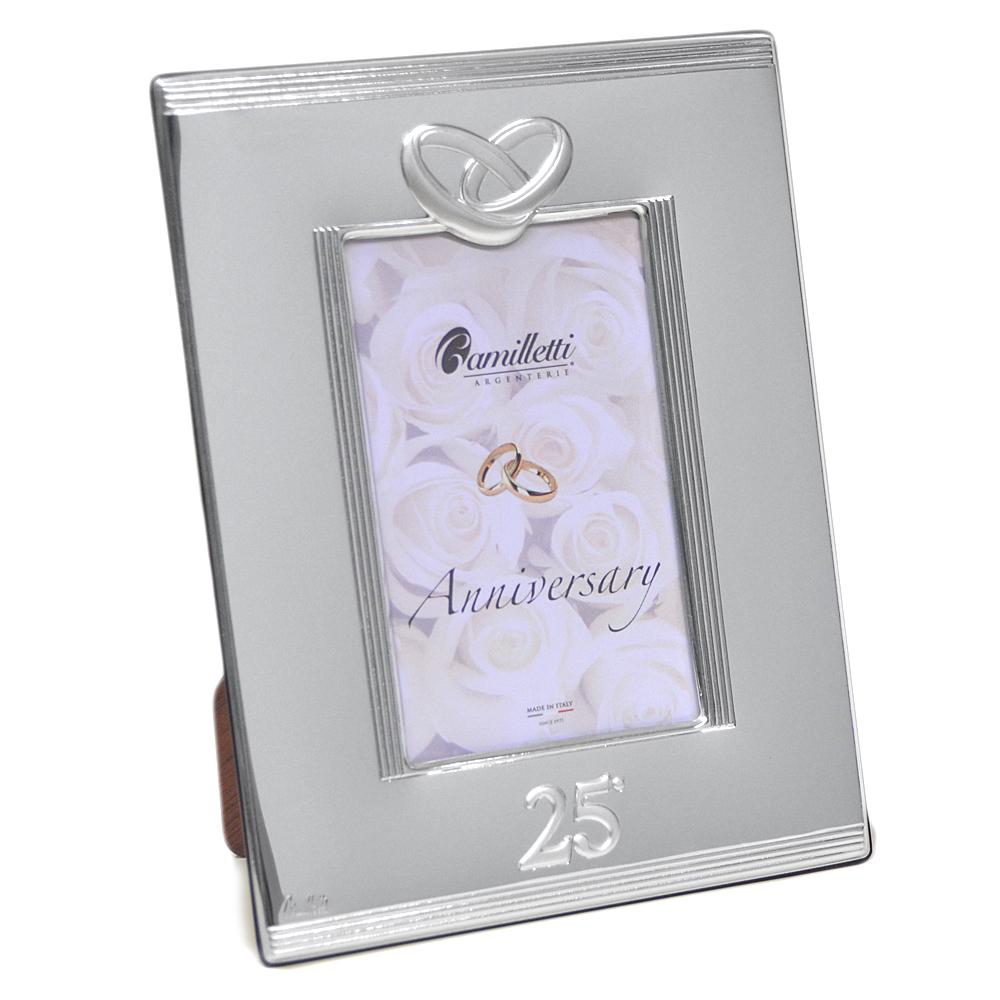 Cornice per Anniversario 25 anni di matrimonio in argento 15 x 20 cm