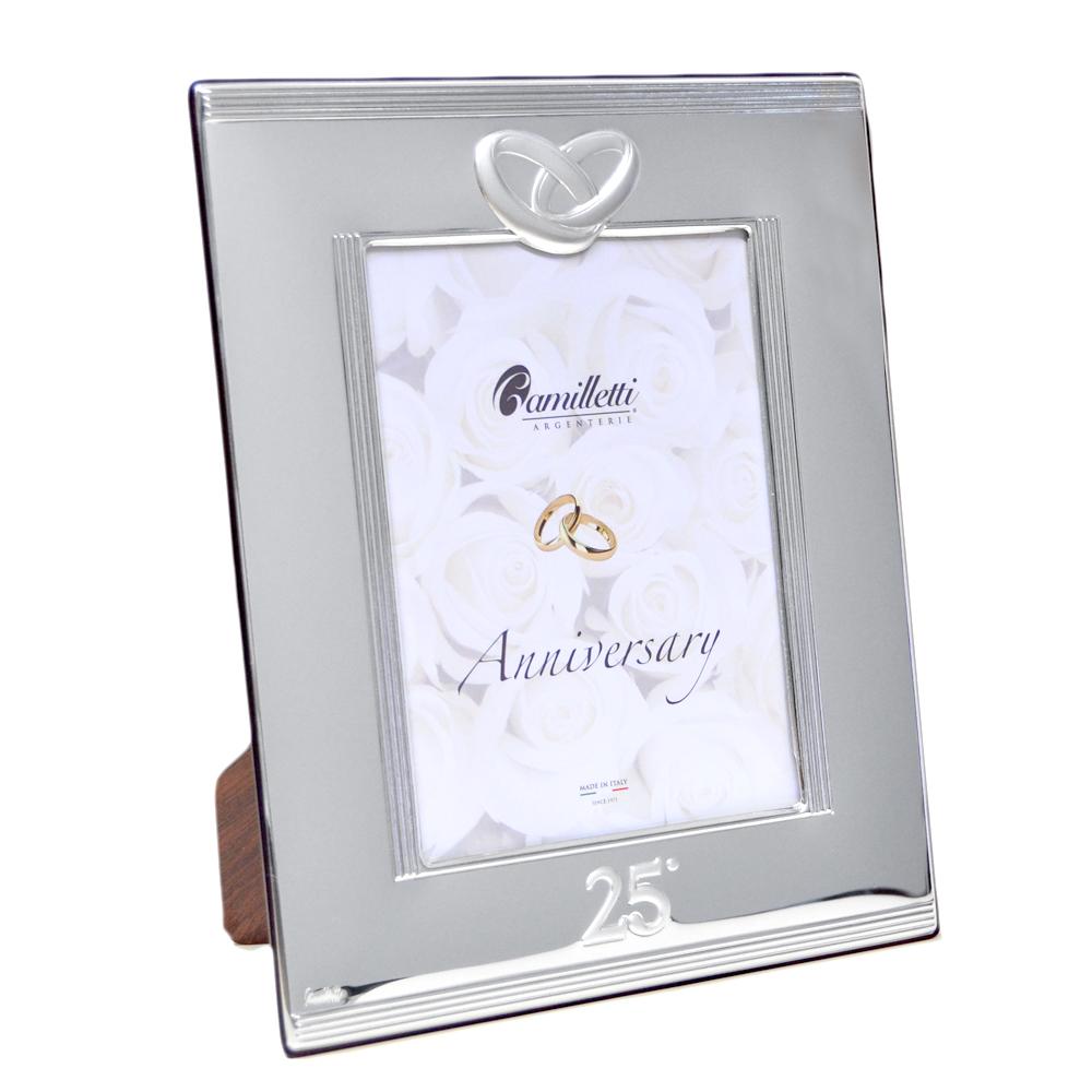 Cornice per Anniversario 25 anni di matrimonio in argento 21 x 26 cm