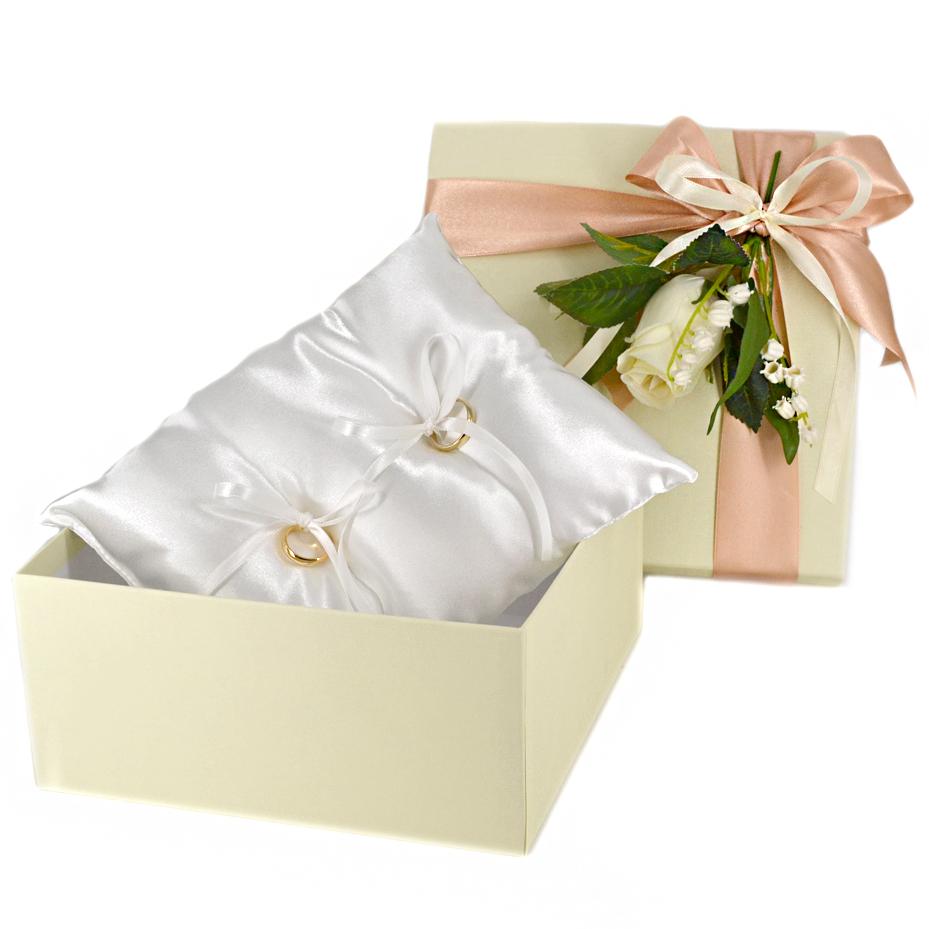 Cuscino porta fedi semplice in raso in confezione regalo sposi