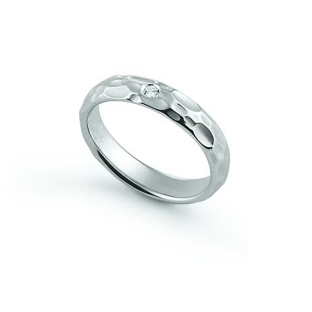 Anello a fascia in oro 9KT bianco con diamante FE395 misura 8