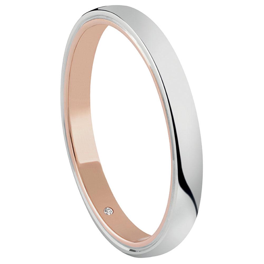 Anello Salvini Forever in oro bianco e rosa con diamante interno misura 13