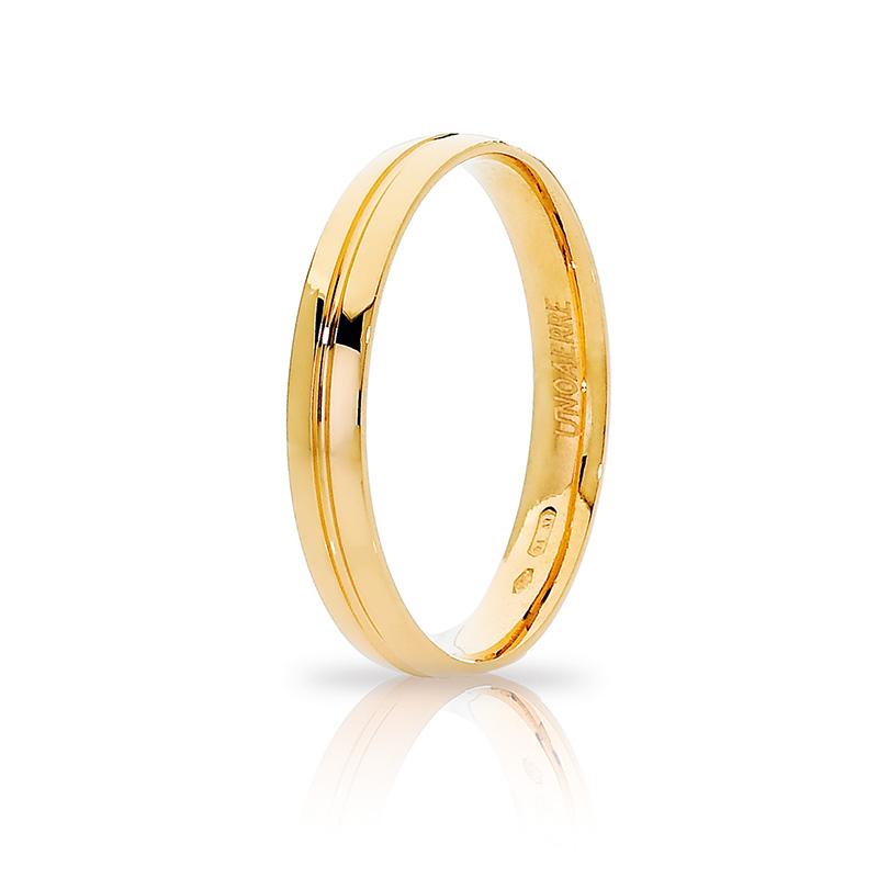 Anello Fede Unoaerre Lyra collezione Brillanti Promesse in oro giallo 18 kt misura 22