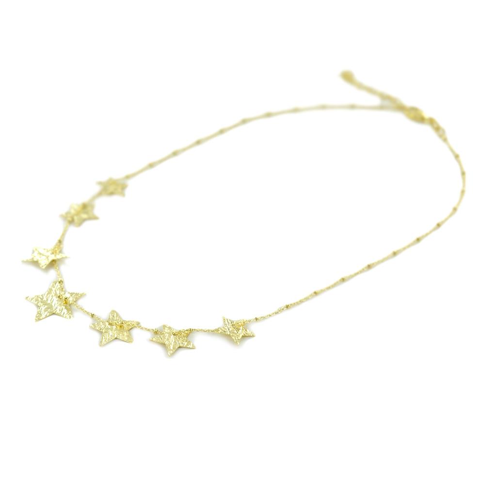 Girocollo con stelle in argento dorato collezione Shiny