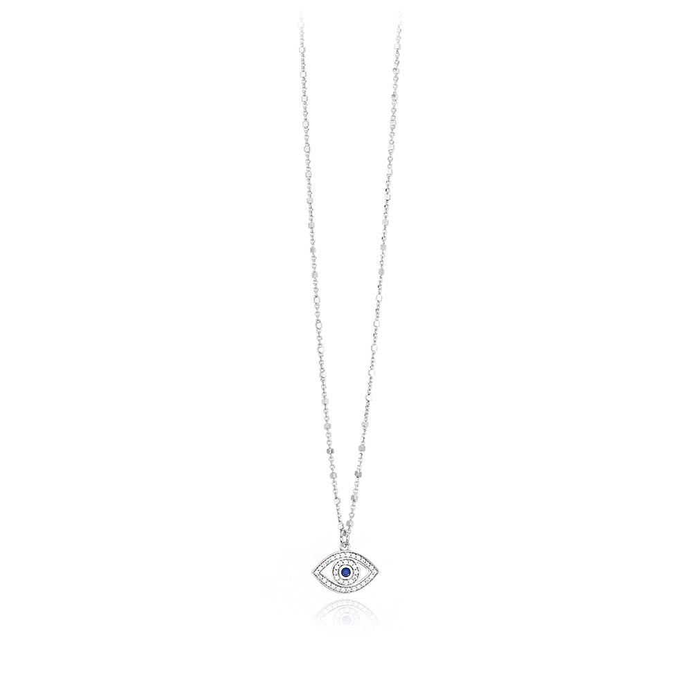 Girocollo Mabina in argento con pendente a forma di occhio Greco con zirconi 553314