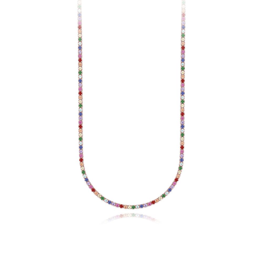 Girocollo Mabina in argento con zirconi colorati 553326