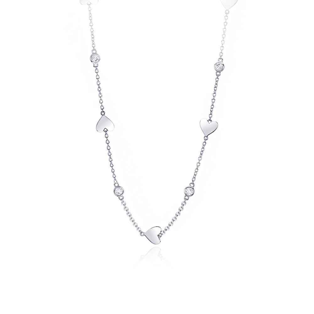 Girocollo Mabina in argento con zirconi e cuori  553216