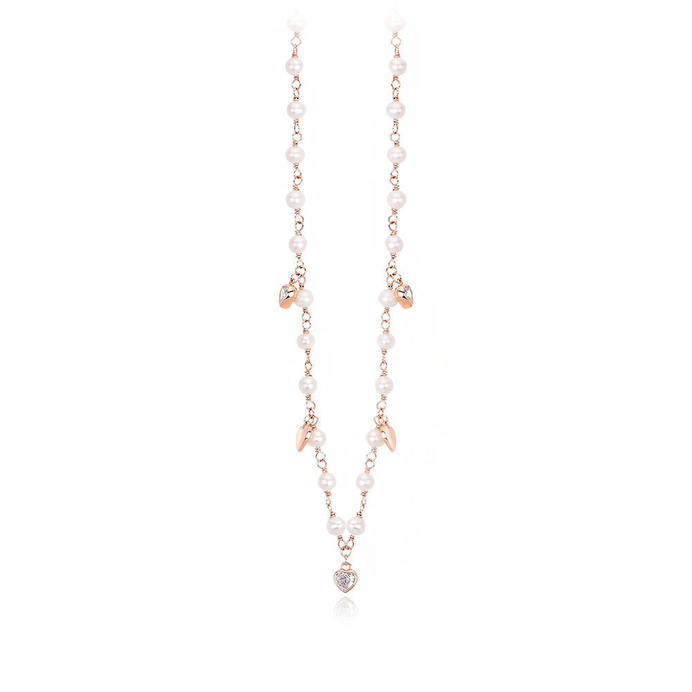 Girocollo Mabina in argento rosato con cuori zirconi e perle 553309