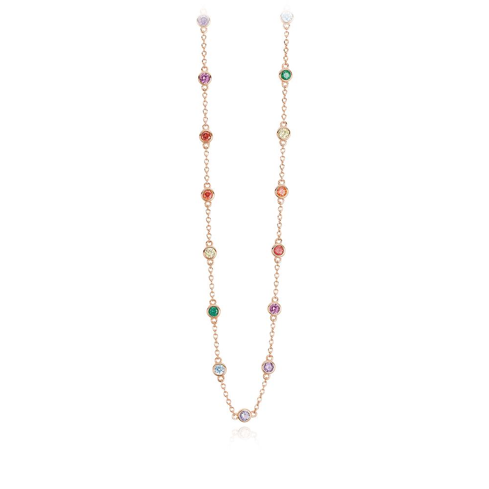 Girocollo Mabina in argento rosato con Zirconi colorati 553312