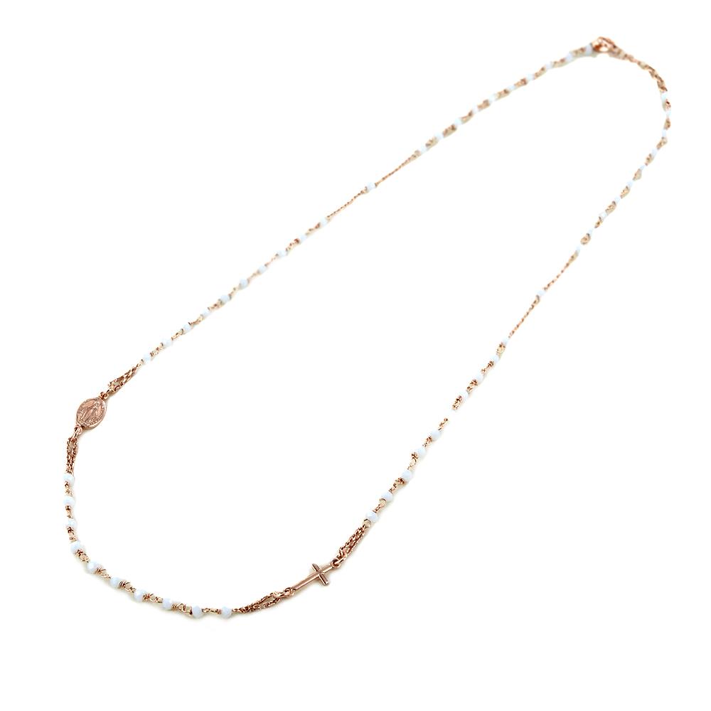 Girocollo Rosario DG in argento rosa e quarzo bianco
