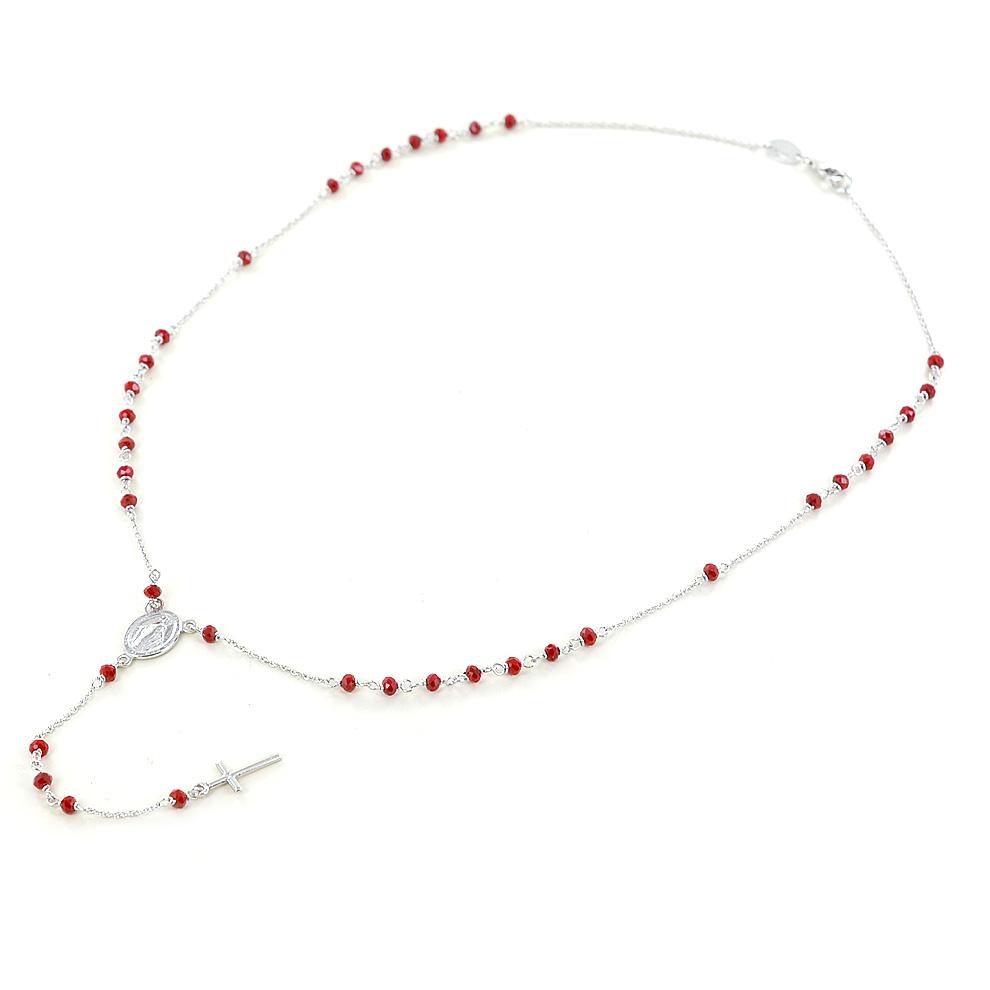 Girocollo Rosario in argento con grani rossi e Madonna Miracolosa