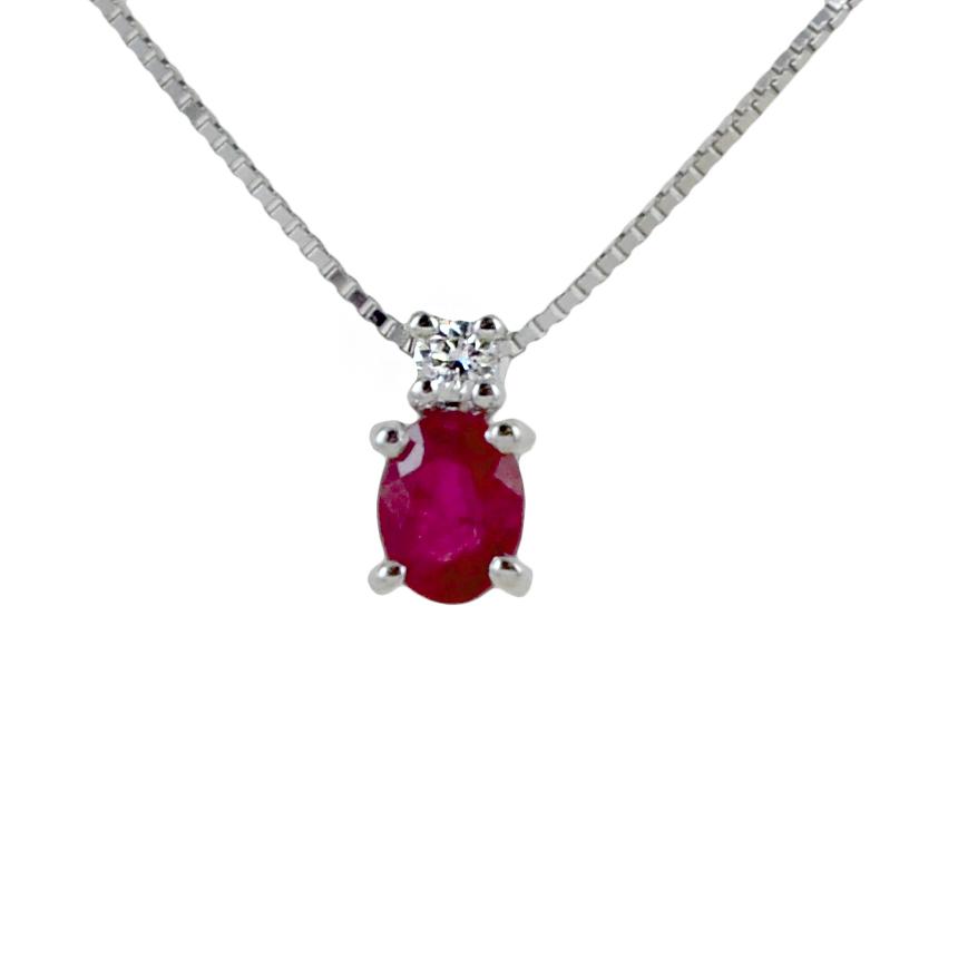 Girocollo Rubino indiano e diamante modello Kesar Gioielli Raaja