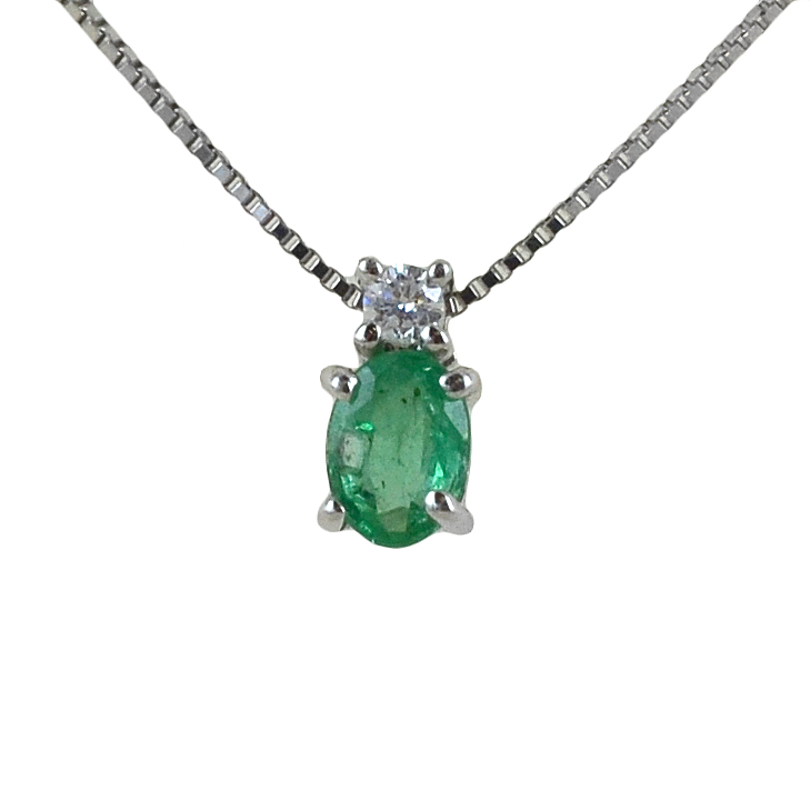 Girocollo Smeraldo indiano e diamante modello Kesar Gioielli Raaja