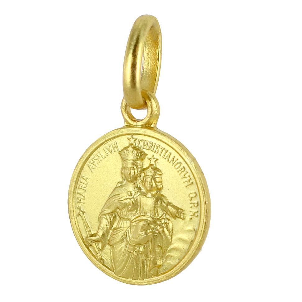 Medaglia in oro giallo Madonna Ausiliatrice 10 mm