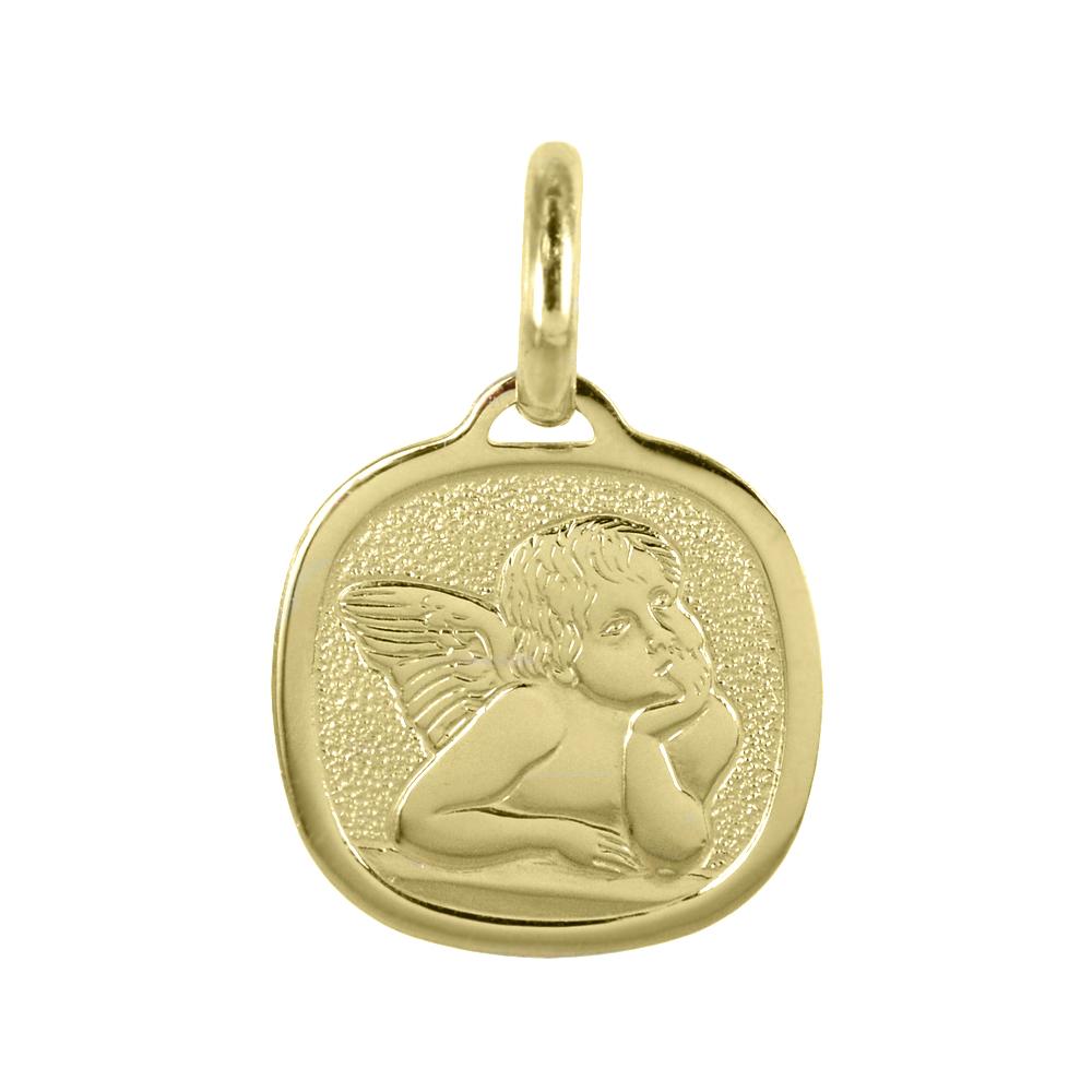 Medaglia religiosa in oro giallo Angelo Cherubino 14X22 mm