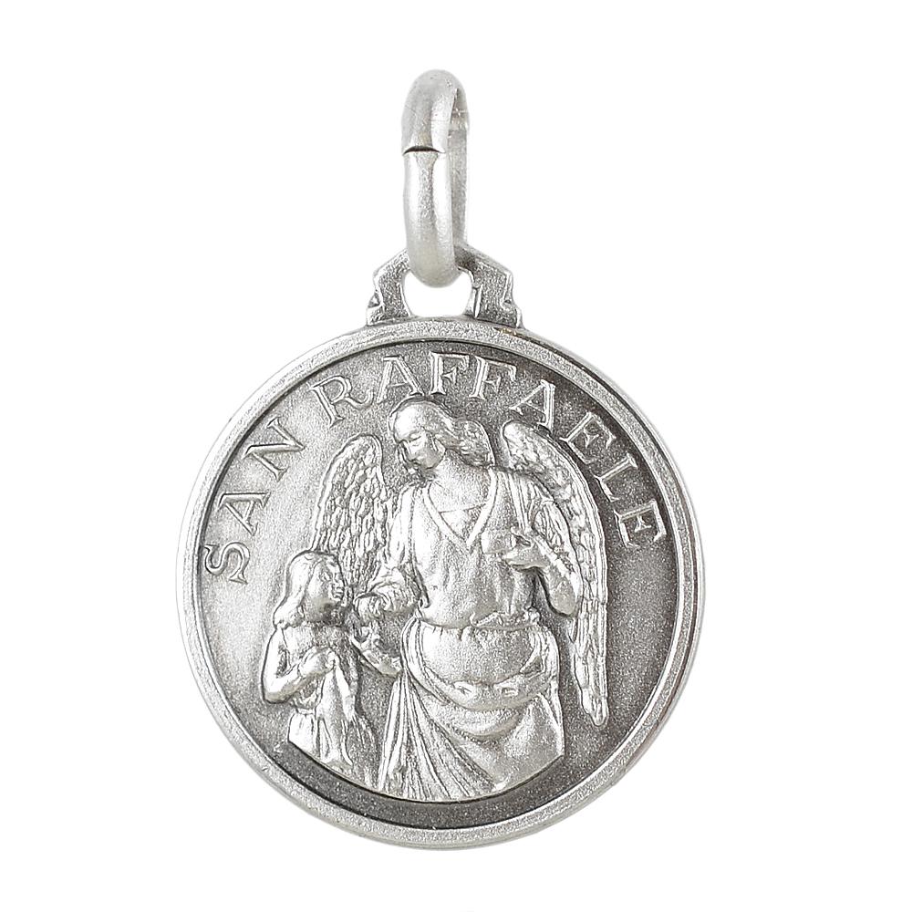 Medaglia san Raffale in argento 16 mm