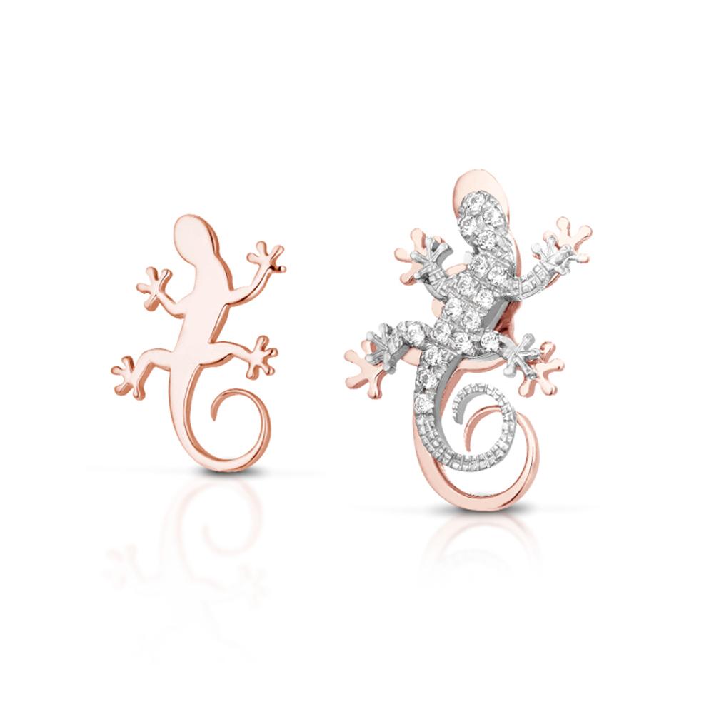 Orecchini a bottoncino Geco in argento rosato con Zirconi GEA105R