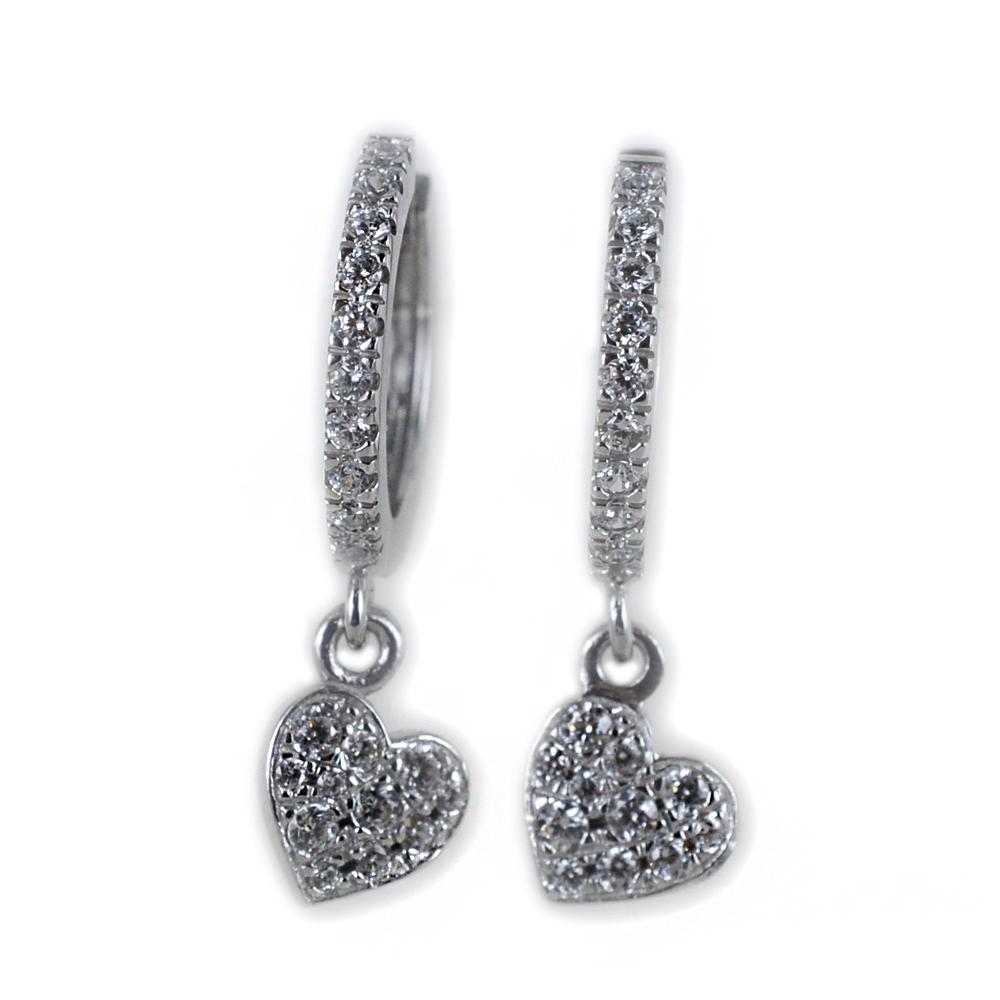 Orecchini a cerchio con pendente Cuore in argento e pave di zirconi bianchi
