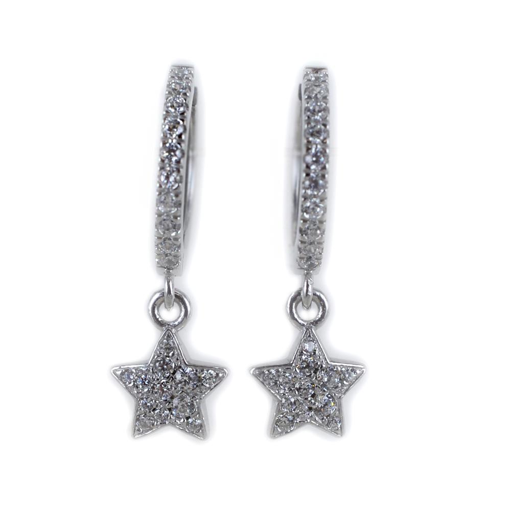 Orecchini a cerchio con pendente Stella in argento e pave di zirconi bianchi