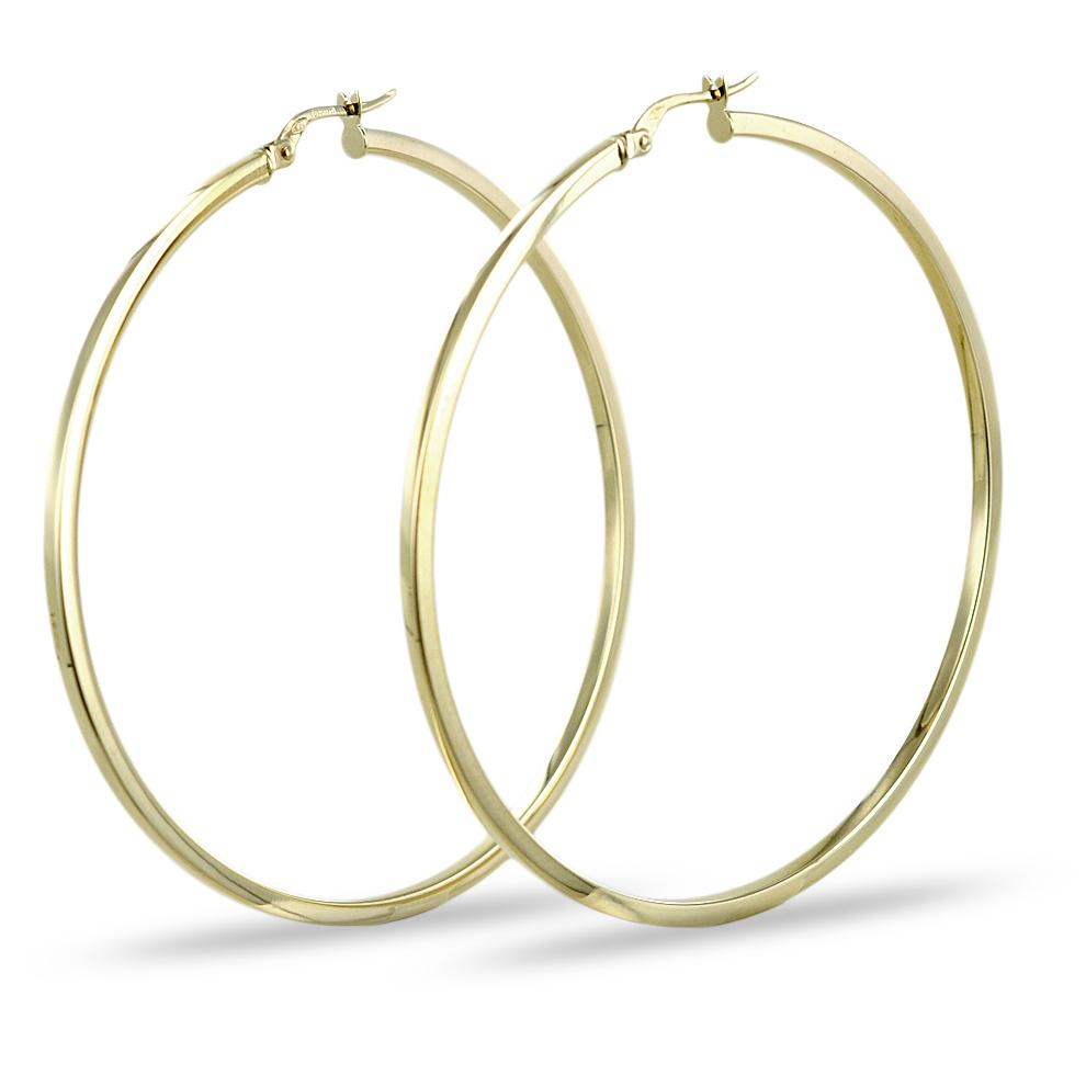 Orecchini a cerchio in oro giallo - campanella grande