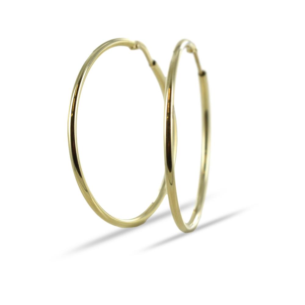 Orecchini a cerchio in oro giallo - campanella media 38 mm