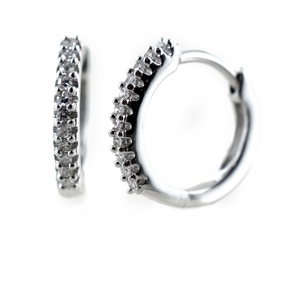 Orecchini a cerchio piccoli con diamanti Gioielli Raaja