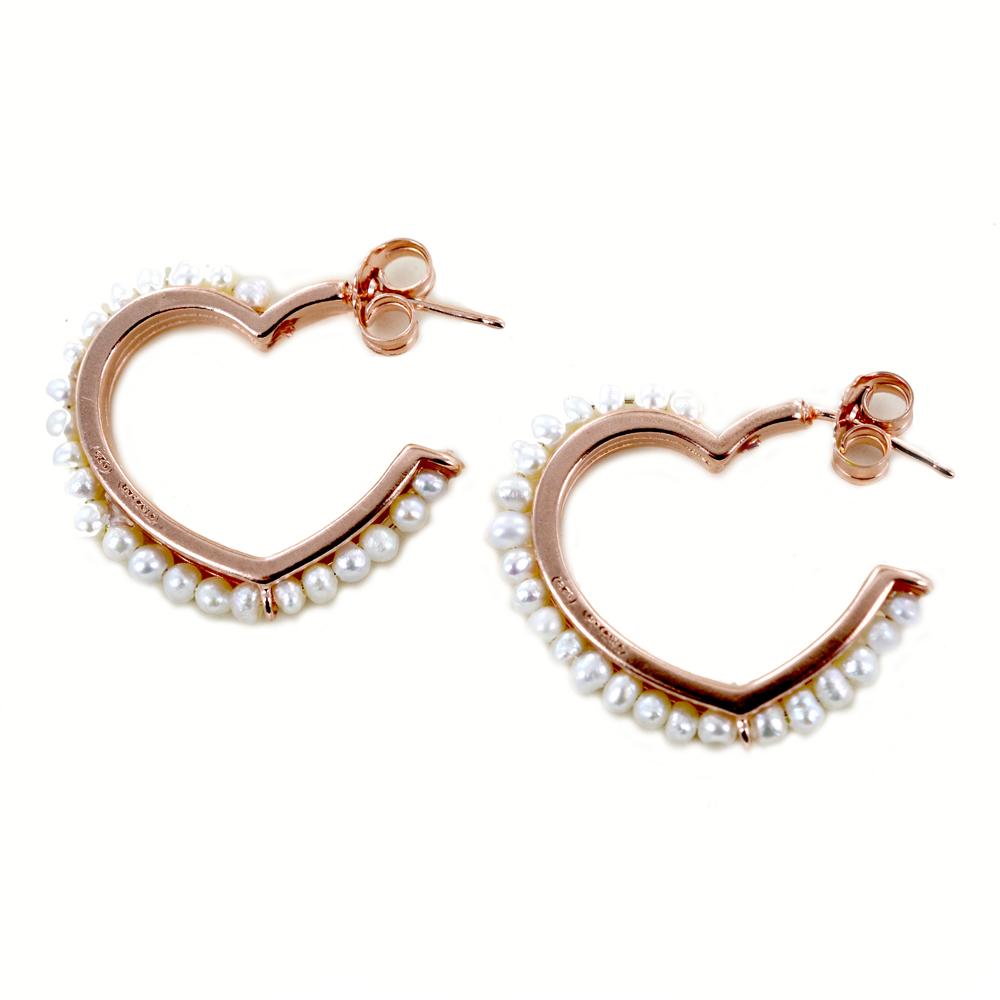 Orecchini a cerchio sagoma cuore rosa con contorno di perle