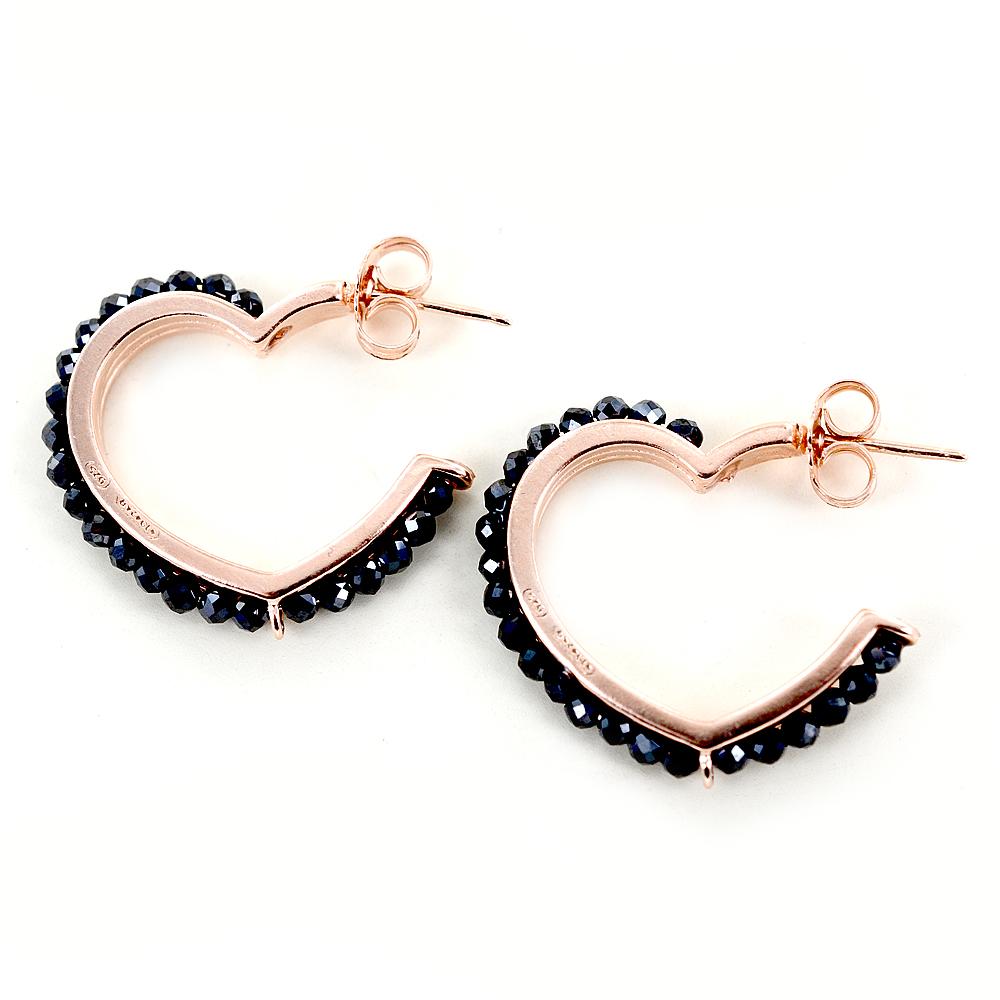 Orecchini a cerchio sagoma cuore rosa con contorno di zirconi neri
