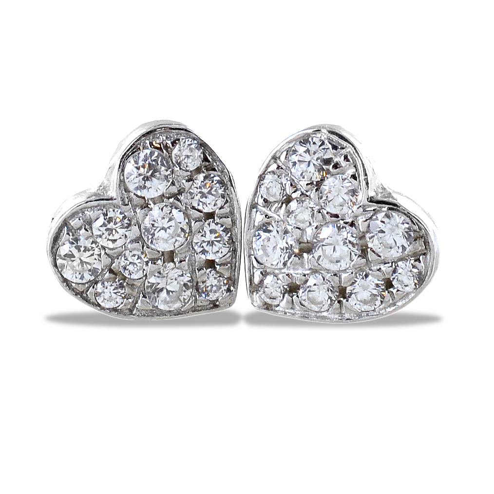 Orecchini a cuore in argento e pave di zirconi bianchi
