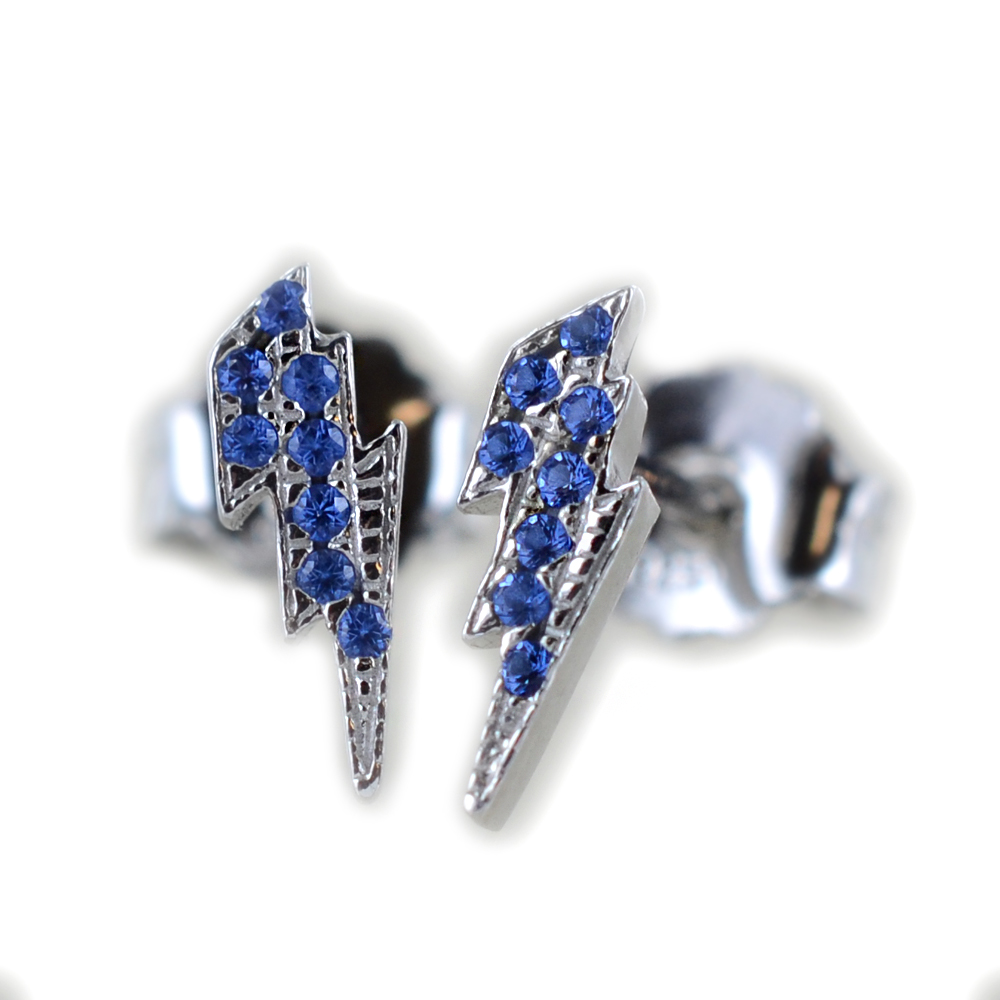 Orecchini a fulmine in argento e pave di zirconi azzurri