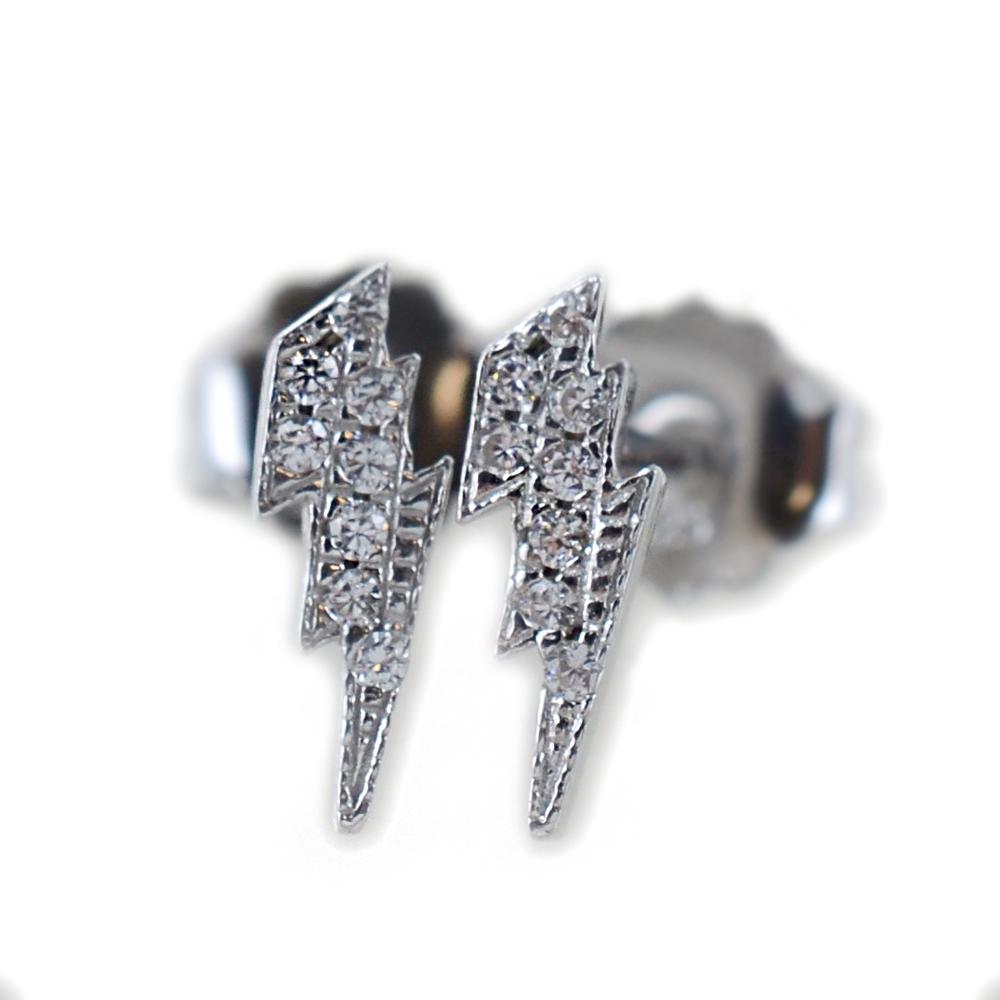 Orecchini a fulmine in argento e pave di zirconi bianchi