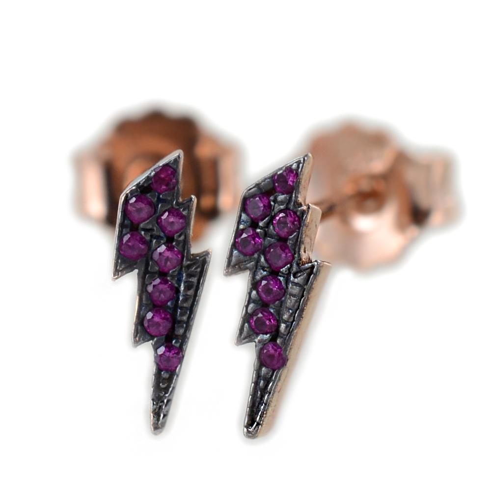 Orecchini a fulmine in argento rose e pave di zirconi rossi