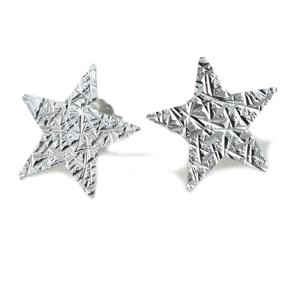 Orecchini a stella in argento a bottoncino collezione Shiny