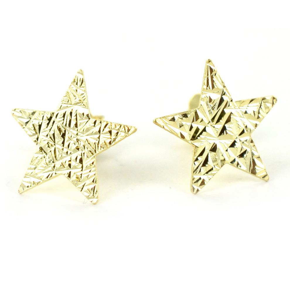 Orecchini a stella in argento dorato a bottoncino collezione Shiny