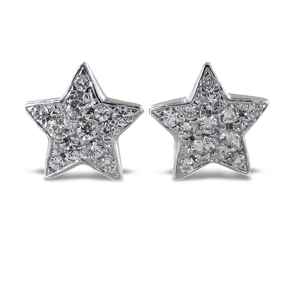 Orecchini a stella in argento e pave di zirconi bianchi