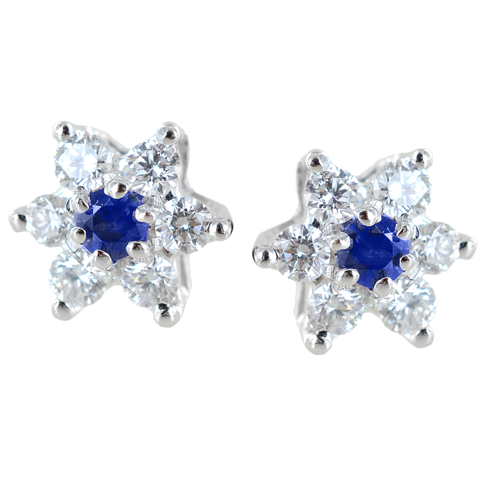 Orecchini a stella in oro e diamanti con zaffiri ct. 0.10